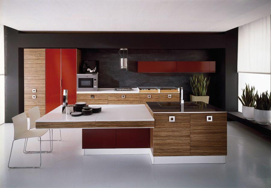 Ideas de #cocina, estilo #contemporaneo color #rojo, #marron ...