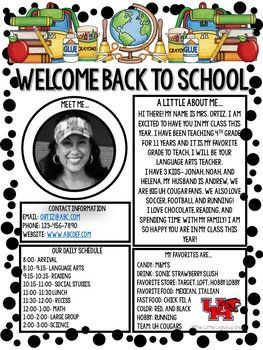 d980af12b567d21f93aec36f1de551a1 Teacher Introduction Newsletter Template on owl theme, for first grade, free preschool,