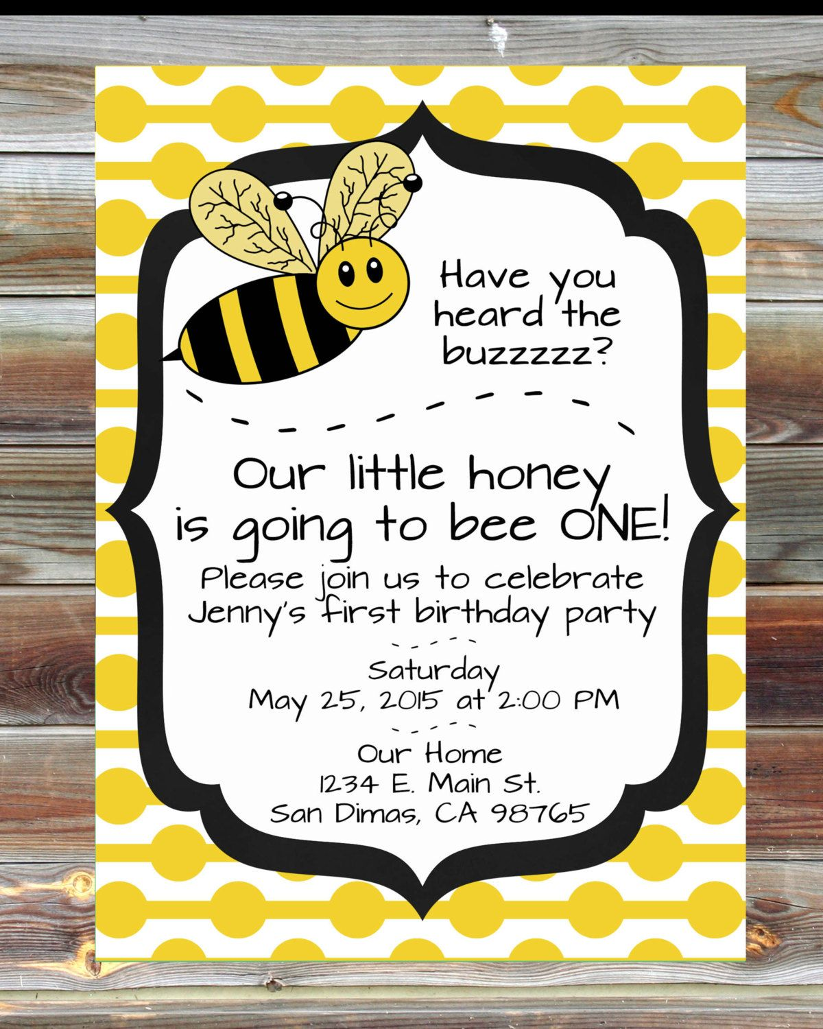 bee theme first birthday invitation 1st