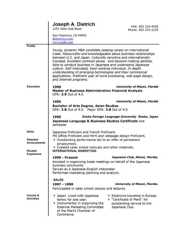 Resume In Microsoft Word Format Resume Templates Word Free Download