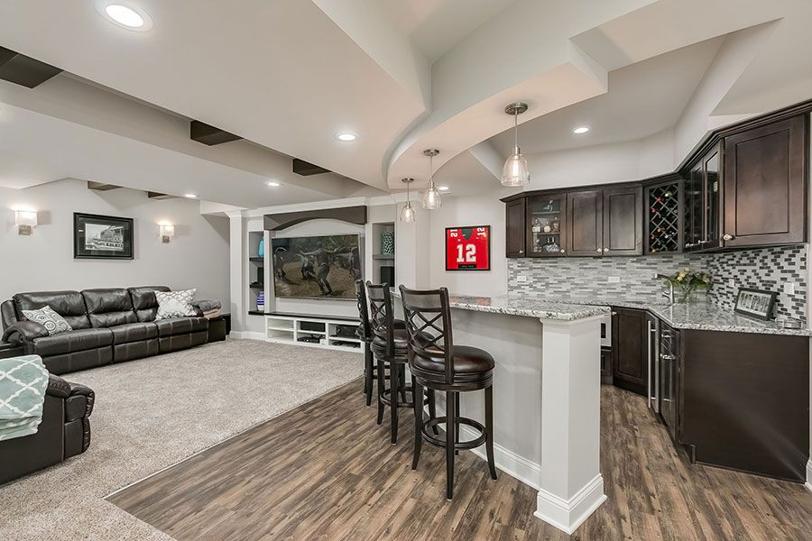 Basement Bar Home Theater... Love Everything Except White Trim.
