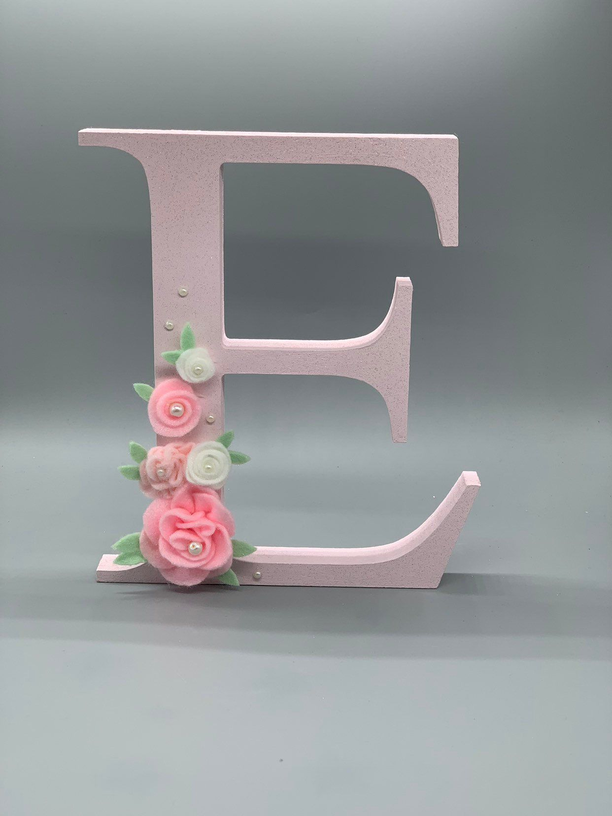 Pink E Decorative Wooden Letters Baby Shower Gift Nursery