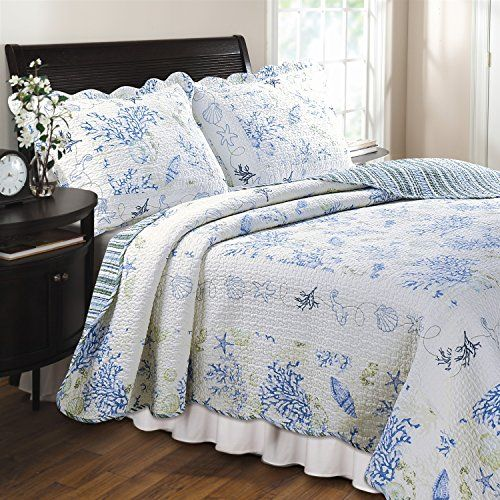 Full/Queen 100-percent Cotton Quilt Set in Blue Coral Sea Shells ... : starfish quilt - Adamdwight.com