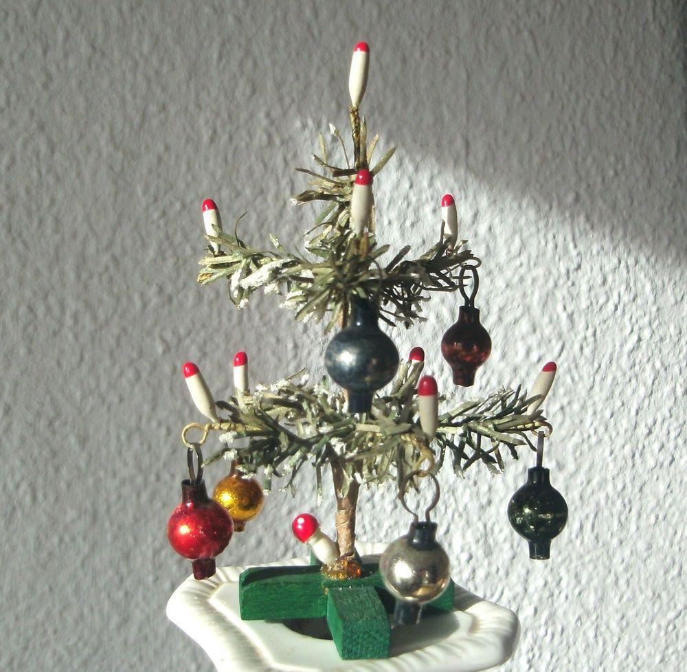 Puppenstube antiker Weihnachtsbaum Lauscha Glaskugeln Papier Draht ...