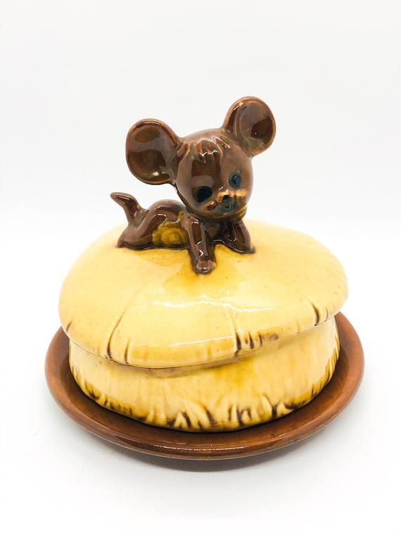 Kitschy Mouse Butter Dish, Ceramic Butter Dish, Ch
