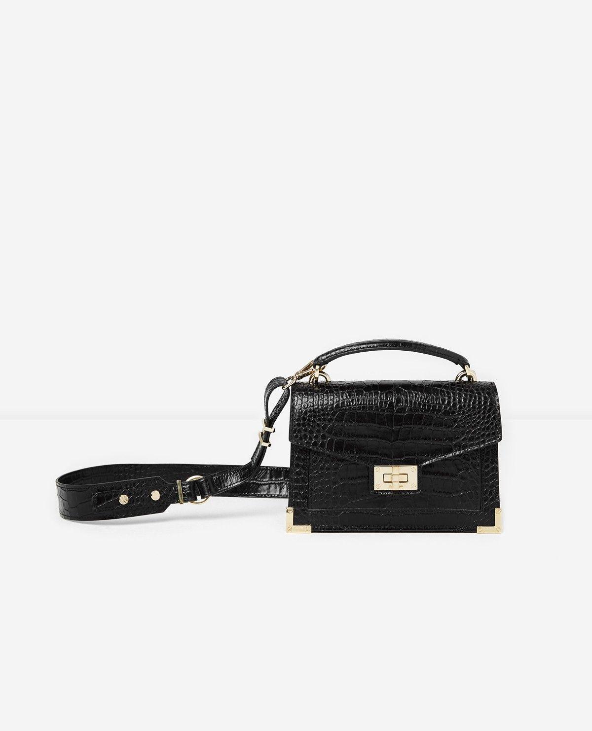 Sac Emily mini noir façon crocodile   accessoires , bijoux sacs ... b73718d0d7d