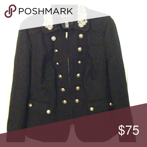 Holiday/dressy jacket I.N.C Black zip up jacket with silver buttons and sparkling bead work on collar. Worn once INC International Concepts Other