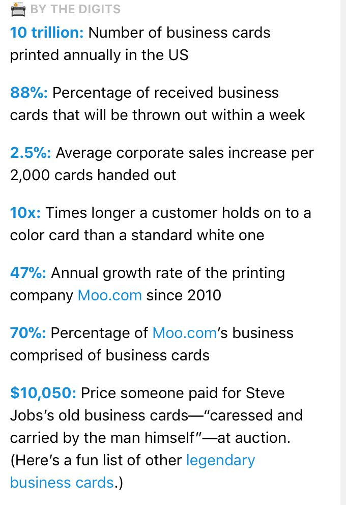 The Business Card — great essay, history and by-the-numbers data ...