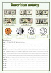 english teaching worksheets american money math money worksheets teaching english. Black Bedroom Furniture Sets. Home Design Ideas