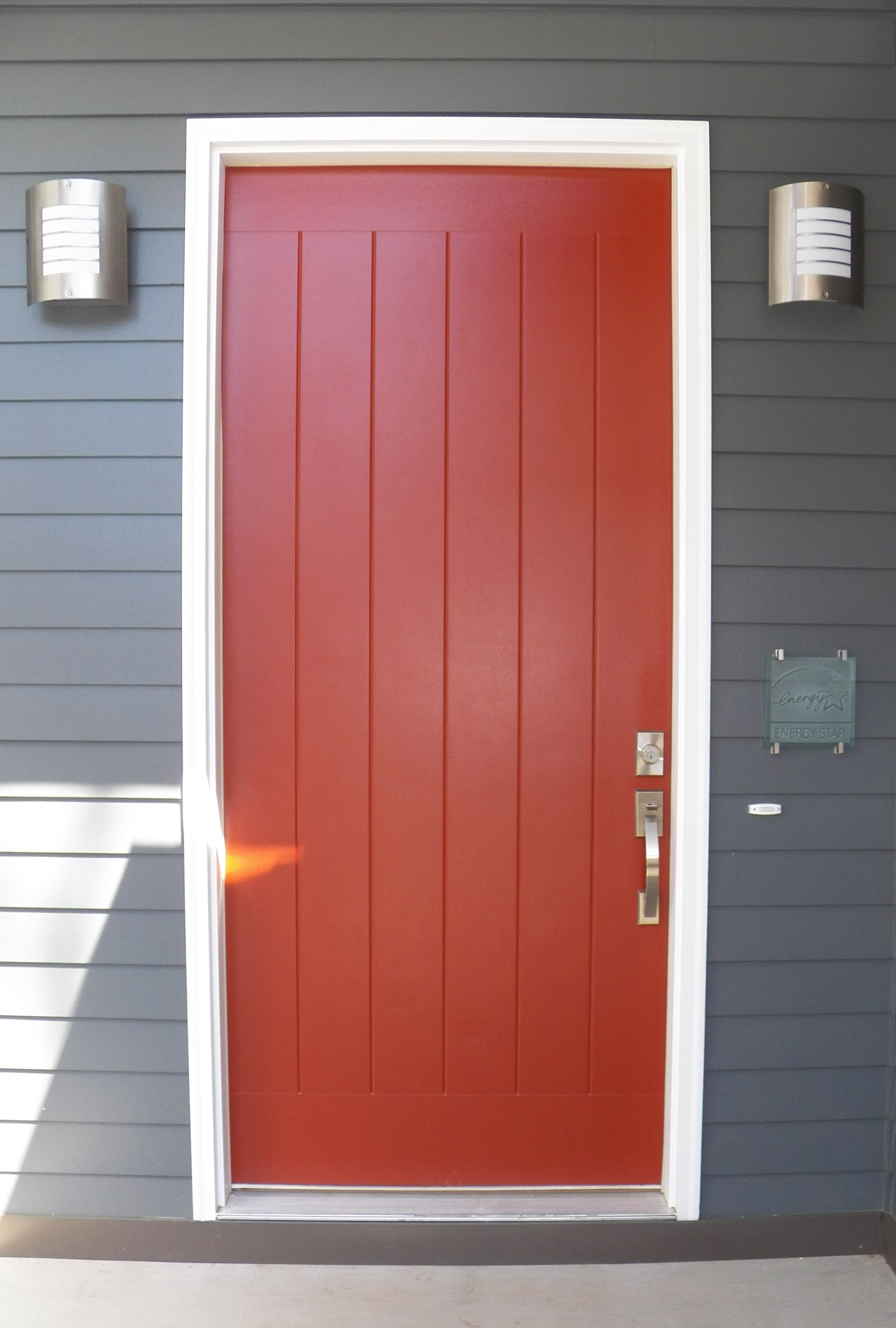 Our red front door. Energy Star etched glass plaque on the right.