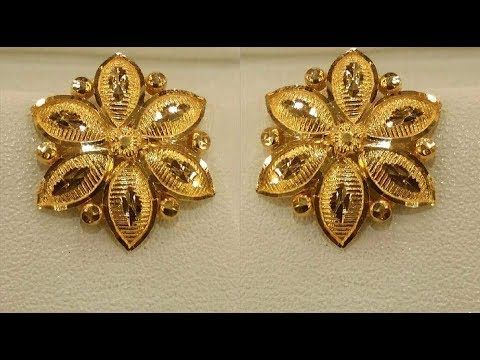Latest Pure Gold Ear Studs Designs Earrings With Weight T F You