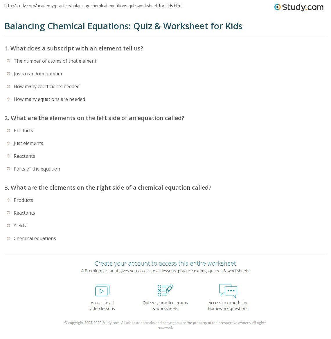 Chemical Formulas And Equations Worksheet Balancing
