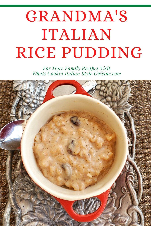 Grandmas italian style rice pudding recipe in 2020