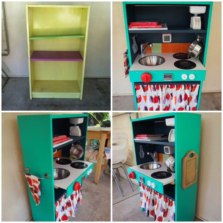 Diy kids kitchen from bookcase before and after restored for Diy kids kitchen ideas