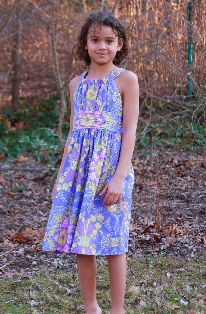 Marissa Dress in Pretty Please JP12 Purple - Ann Flower Mural