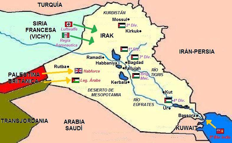mapa de la situacin militar en irak tanto de los aliados como del ejrcito irak