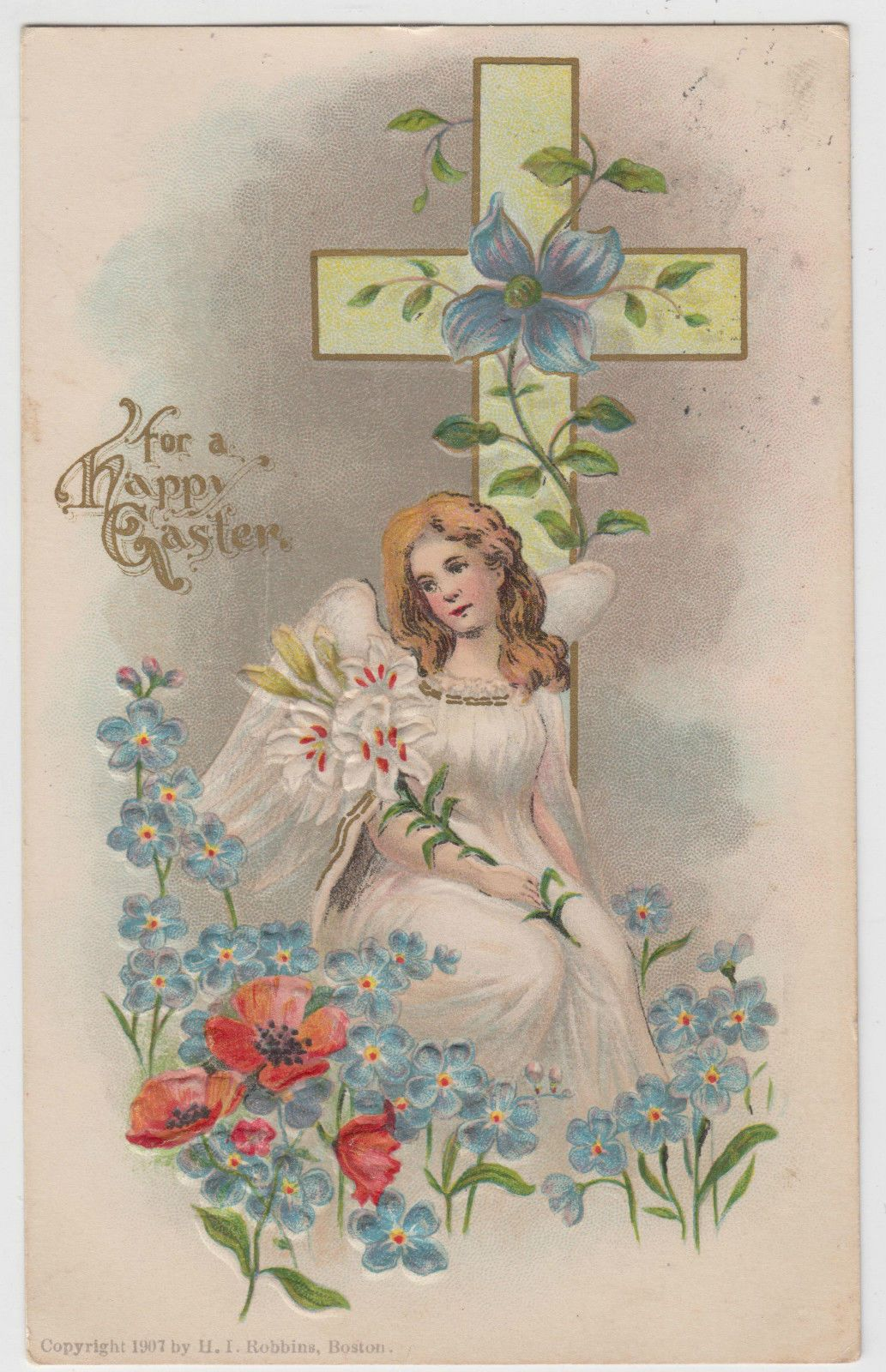Details about beautiful angel holding flowers poppies