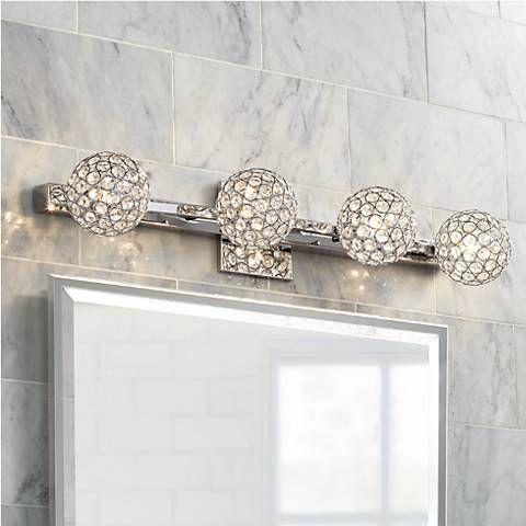 Merveilleux Four Clear Crystal Spheres Sparkle Beautifully When This Chrome Bath Light  Is Illuminated.