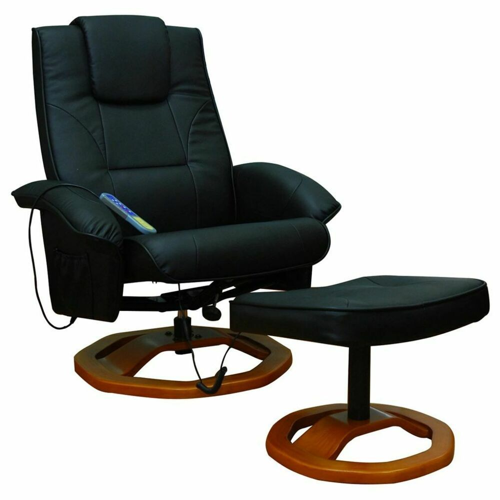 Vidaxl Fauteuil Noir Massant Electrique Repose Pieds Salon Chaise Massage Fauteuil Noir Fauteuil Chaise De Bureau Confortable
