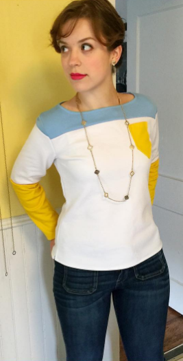 Sarah\'s colour-blocked Coco top - sewing pattern by Tilly and the ...
