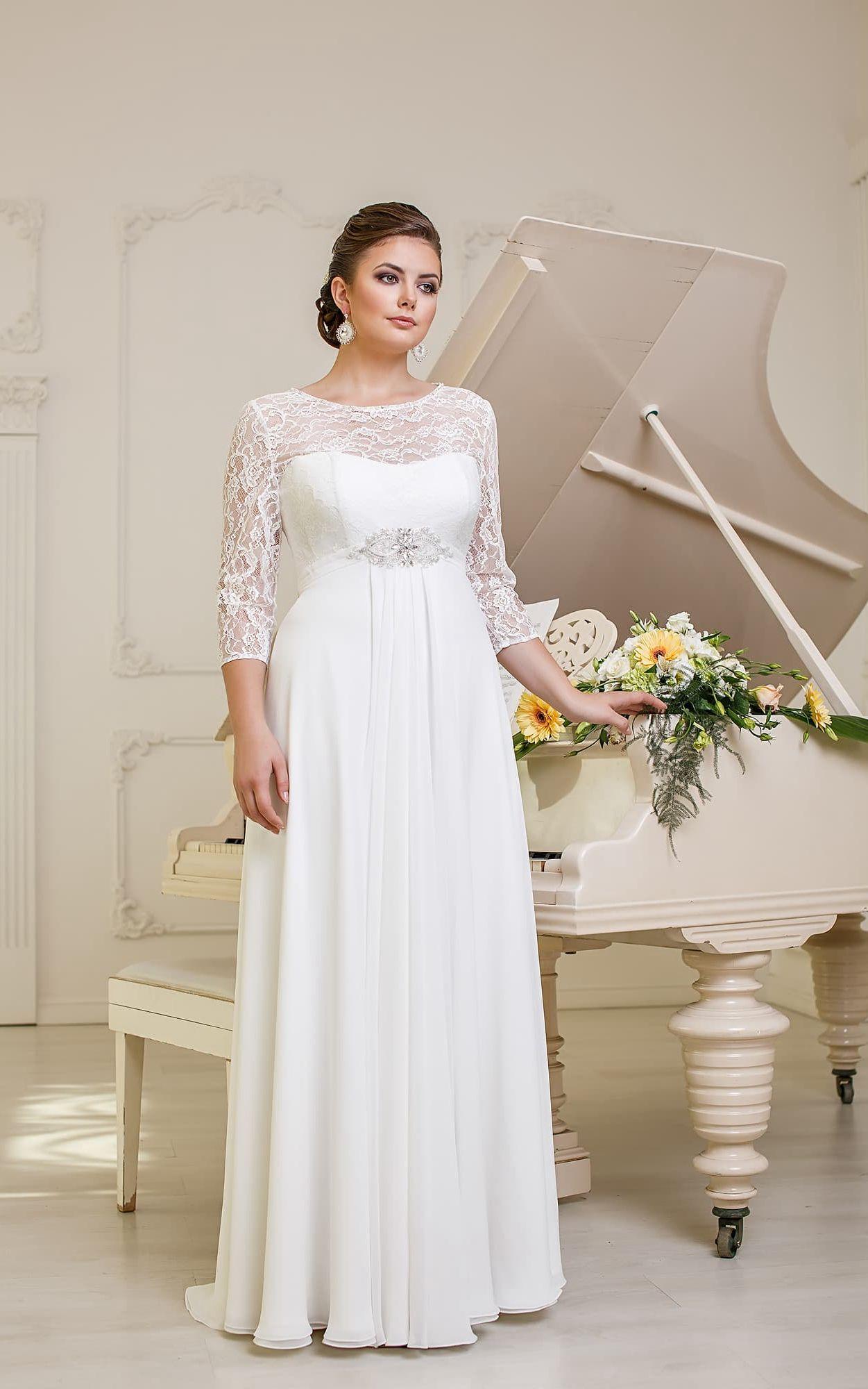 A Line Long Jewel Neck Illusion Sleeve Empire Corset Back Chiffon Dress With Beading And Pleatings Empire Wedding Dress Empire Waist Wedding Dress Wedding Dresses Plus Size