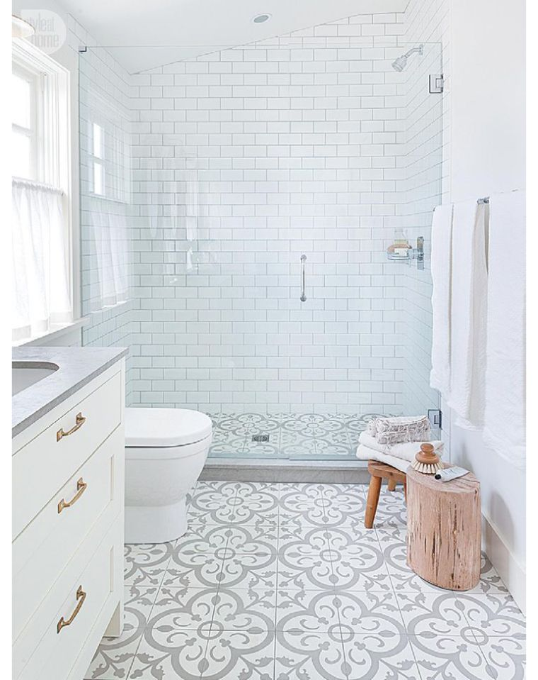 Cement Tile + Clean White Subway Floor In Master