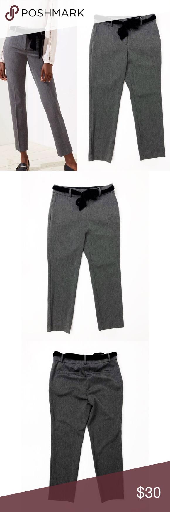 💜Loft Marisa Black Pattern Velvet Waist Tie Pants Loft  Size 6  Style: Marisa  Waist tie is black velvet  Excellent pre loved condition  Ships fast!  W9 #0380 LOFT Pants Ankle & Cropped