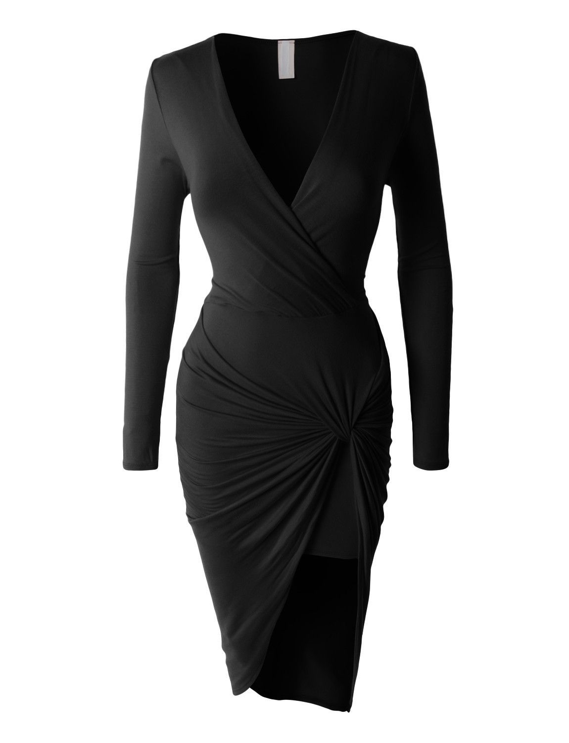 Womens lightweight side draped bodycon dress with stretch clearance