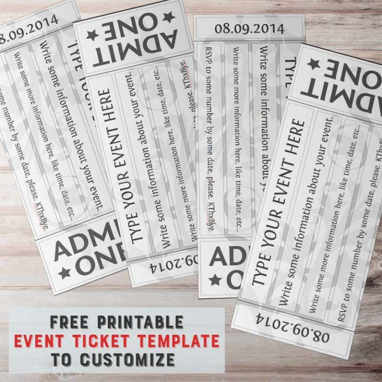 picture relating to Printable Event Tickets named Free of charge Printable Celebration Ticket Template in direction of Customise Pool