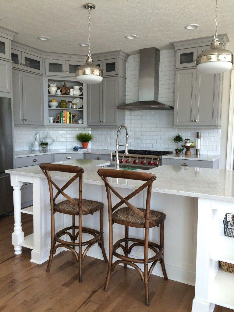 gray and white kitchen perimeter cabinets in dove gray by wellborn and island in white quartz on kitchen cabinets grey and white id=34417