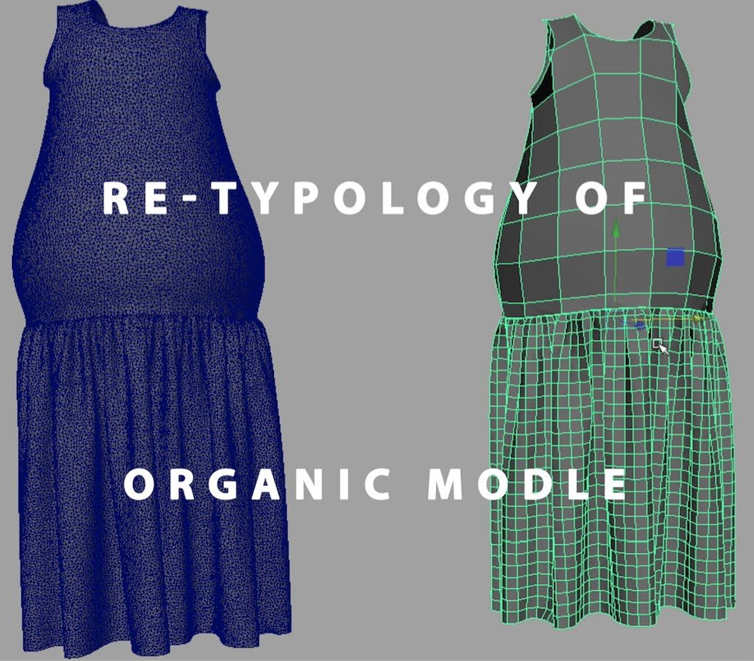 Re-Typology Organic Model Part 1of2 Maya 2016   Retopology