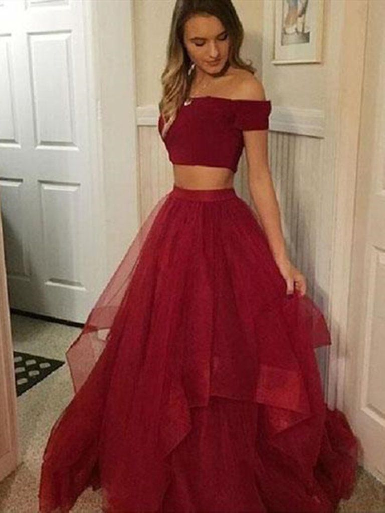 Off Shoulder Two Piece Ruffled Tulle Burgundy Ball Gown Dress 2 Piece Burgundy Prom Dress Formal Evening Dress Strapless Prom Dresses Trendy Prom Dresses Burgundy Prom Dress