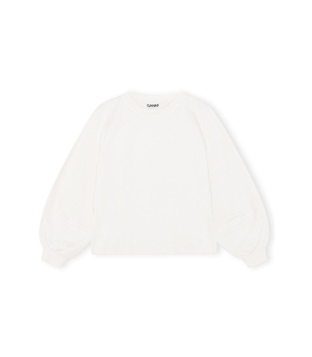 Ganni Software Isoli Sweatshirt In Egret Shopbazaar In 2021 Sweatshirts Sweatshirt Fabric Top Design Fashion [ 1200 x 1050 Pixel ]