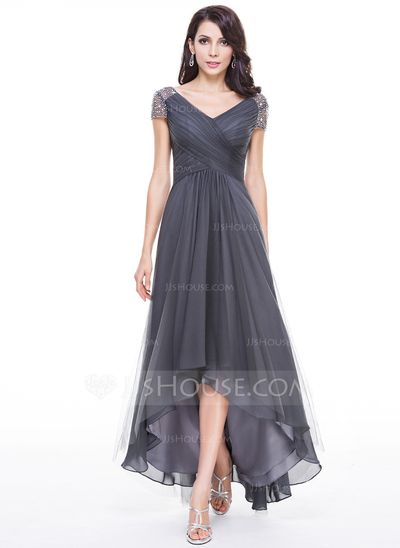 A-Line Princess V-neck Asymmetrical Tulle Evening Dress With Ruffle Beading  Sequins (017056519) Mother of the Bride bdced230e1f16