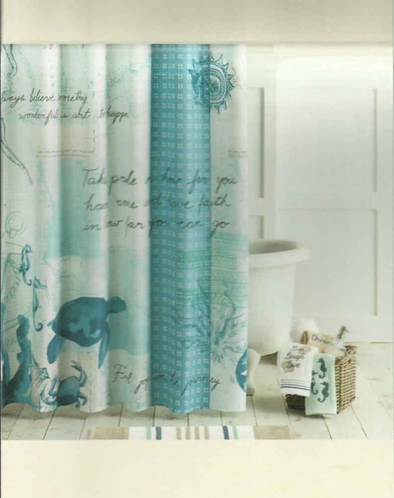 Under the sea peva shower curtain blue walmart com - Shoreline Ocean Sea Maps Blue Aqua Black Quality Fabric Shower Curtain New