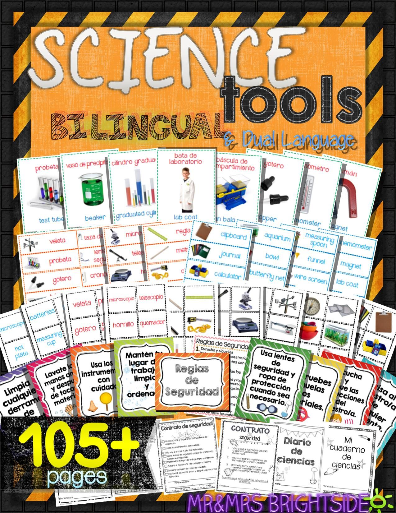 science tools in spanish and english get your science bilingual center ready with these science safety tools in spanish for bilingual dual language and
