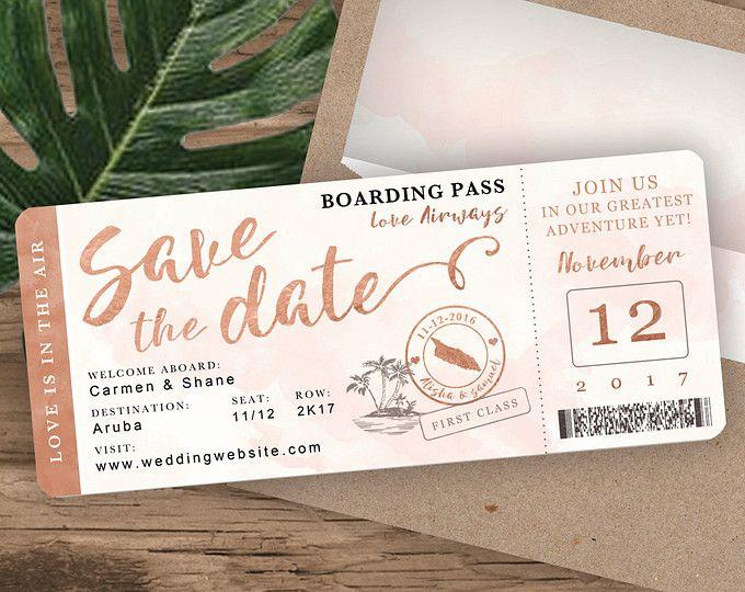 Toll Rose Gold Aquarell Ziel Hochzeit Boarding Pass Save The Date Von  Luckyladypaper   Angepasst PDF Datei Für DIY Druck