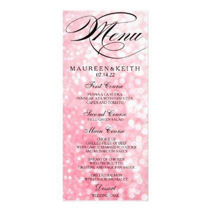 Elegant Pink Bokeh Lights Wedding Dinner Menu Card  By