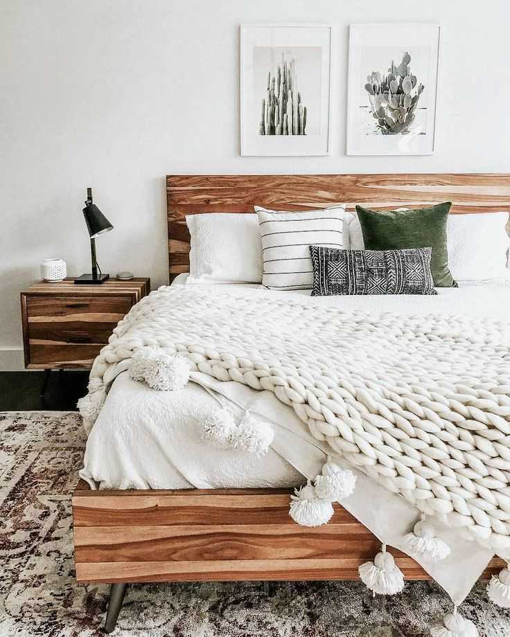Cozy White Knit Bedding Wood Bedframe Bedroom Inspiration