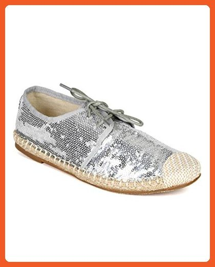 797f9f98dbe Nature Breeze CA76 Women Sequinned Fabric Espadrille Capped Toe Lace Up  flat - Silver (Size  8.0) - Oxfords for women ( Amazon Partner-Link)