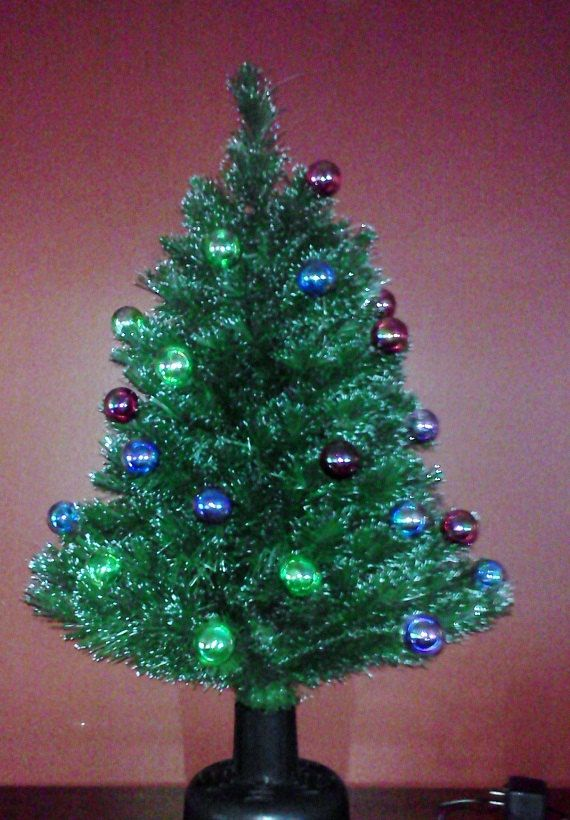 Tabletop Christmas Tree Vintage Rotating by FingerLakesFinds,. best 28 tabletop  fiber optic ... - Tabletop Christmas Tree Vintage Rotating Prelit Fiber Optic