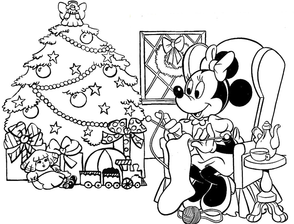 Minie Happy Holiday Christmas Coloring Page