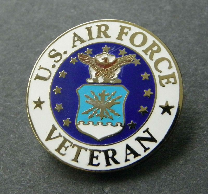 US Air Force Veteran USAF Vet Lapel Pin Badge 1 Inch Air