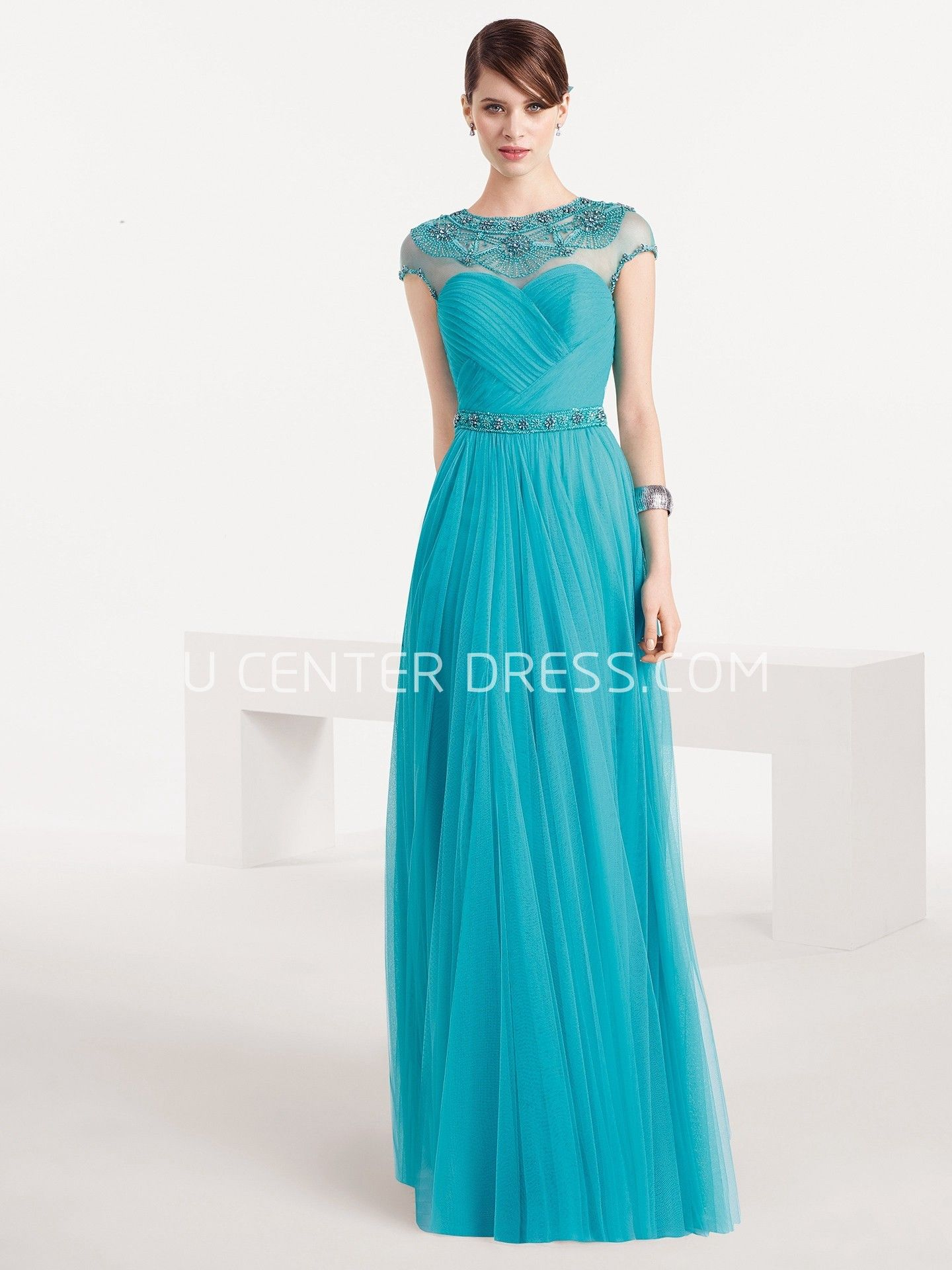 A-Line Cap-Sleeve Criss-Cross Scoop-Neck Floor-Length Tulle Prom ...