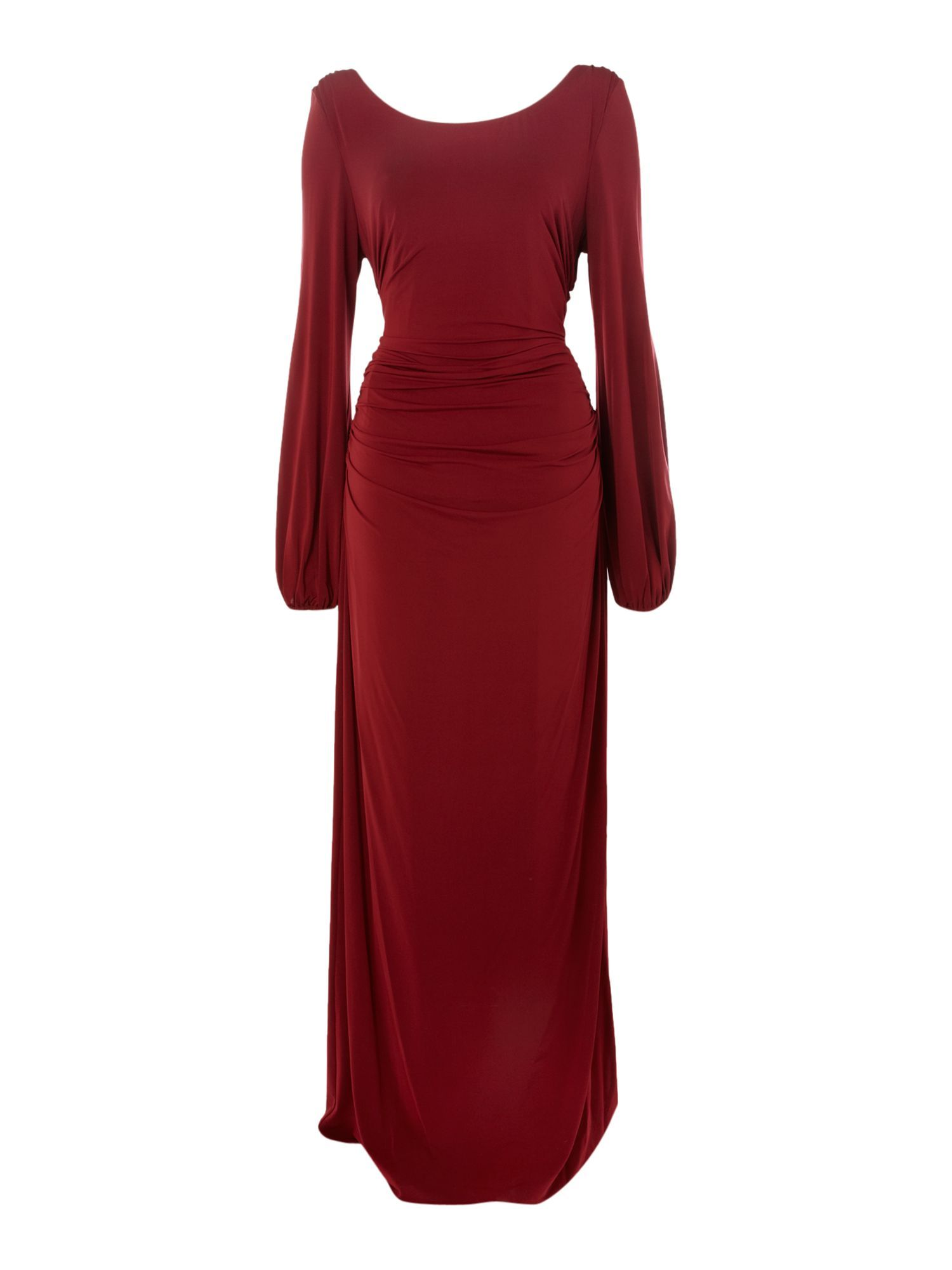 Kneelength dress info jersey solid color deep neckline lamé