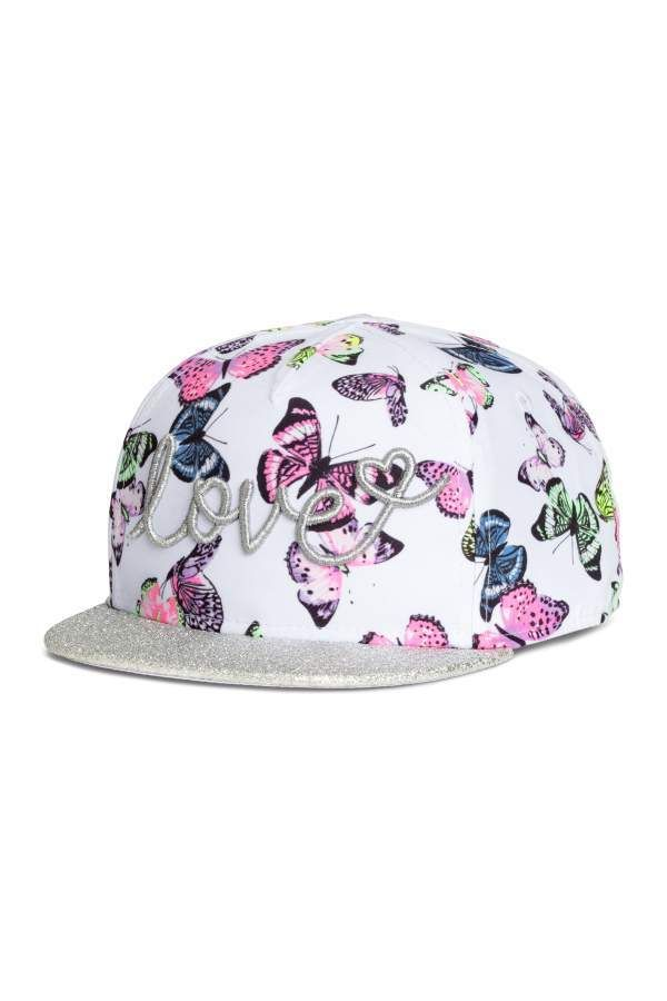be5712b9d38 H M Cap with Glittery Visor - Light pink floral - Kids