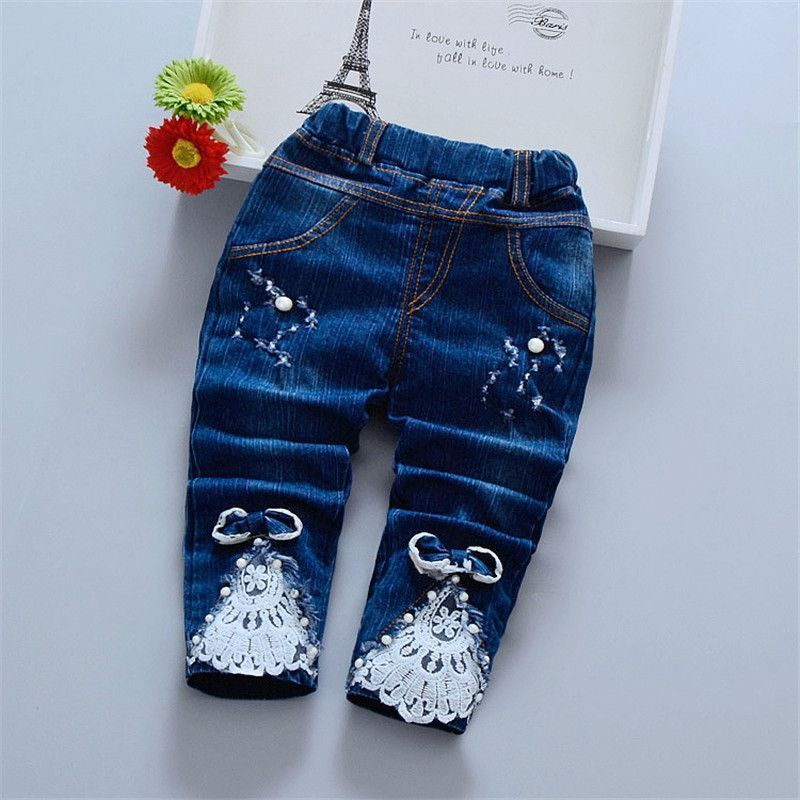 af734dd58 Newborn Baby Girl Pant Lace Beading Jeans Baby Clothes For Girls ...