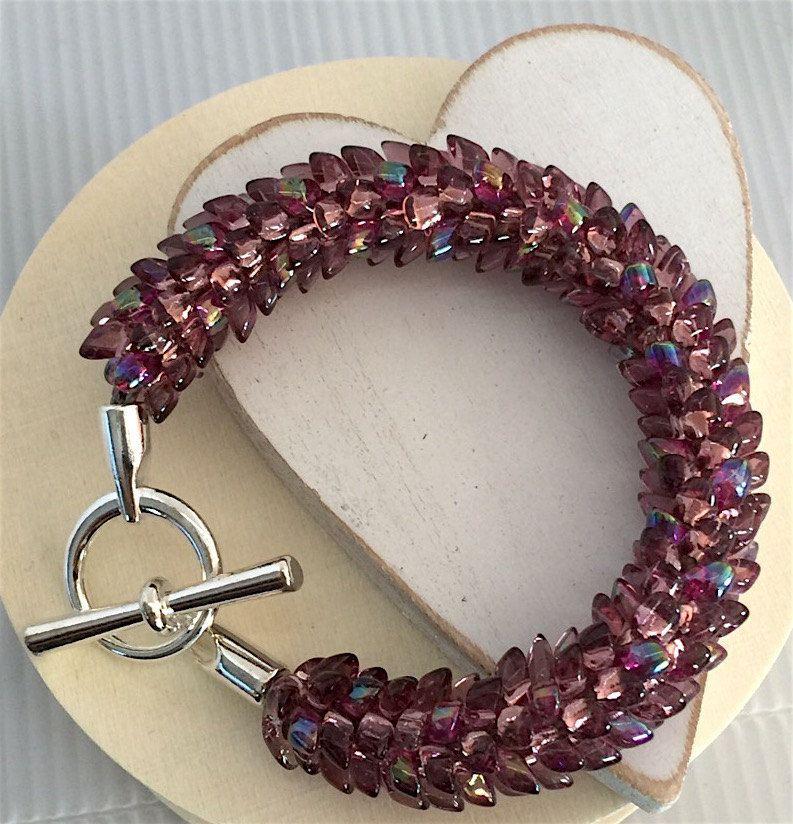 "Bracelet Kumihimo Magatama Beads Size 6 3/4"" by WildBeadWoman on Etsy"