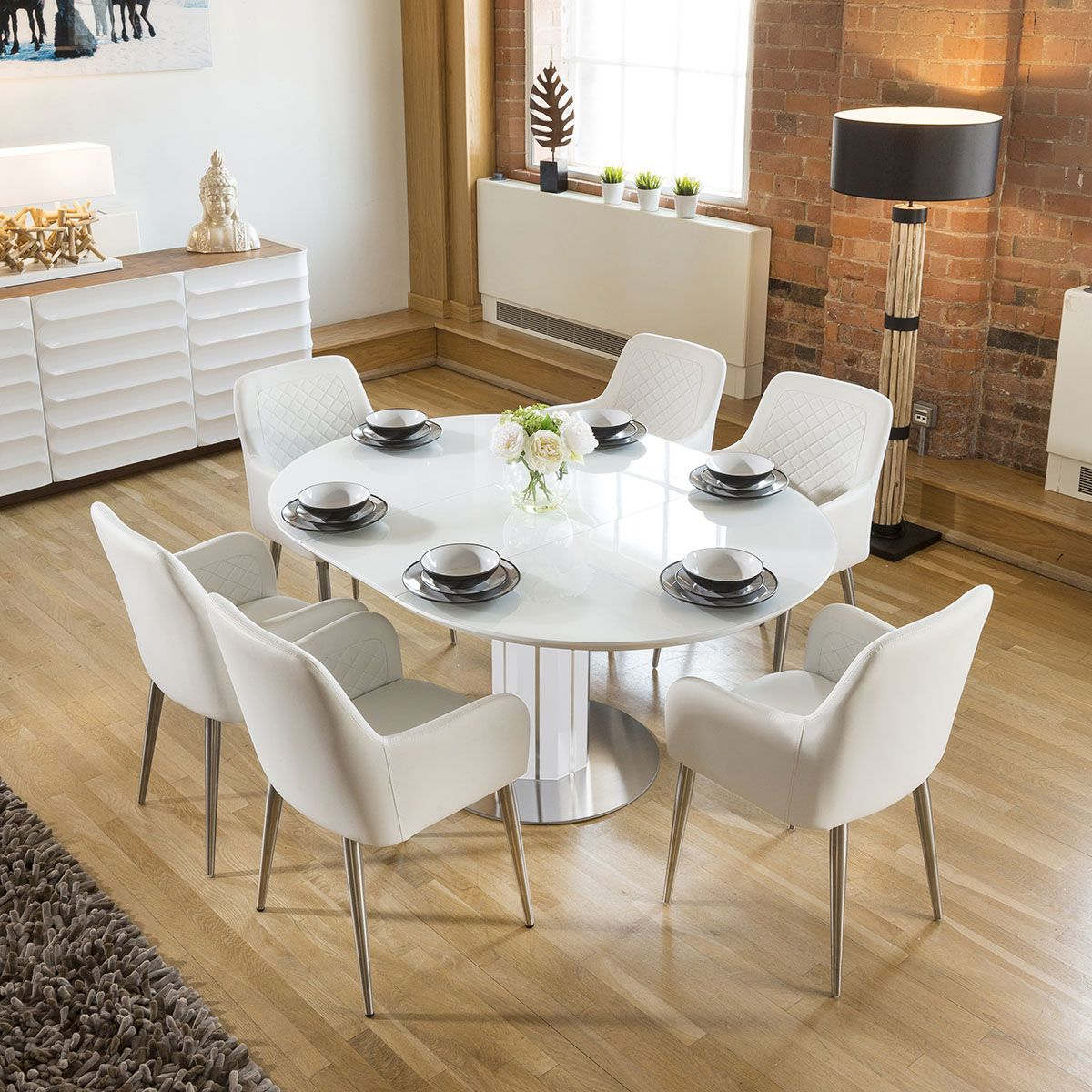 Modern Extending Dining Set Oval / Round Glass Table 6 ...