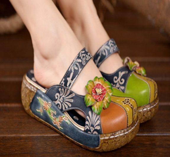 7c812dcf21538b Womens Leather Platform Sandals Slip Slops National Flower Printed Shoes  G626